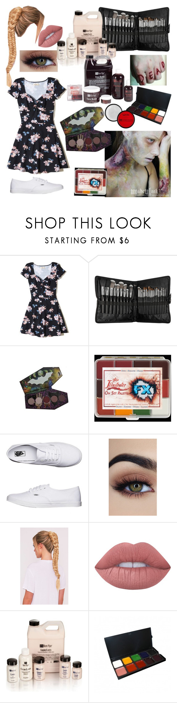 """Sfx makeup artist"" by younglove1298 ❤ liked on Polyvore featuring Hollister Co., Sephora Collection, Vans and Lime Crime"