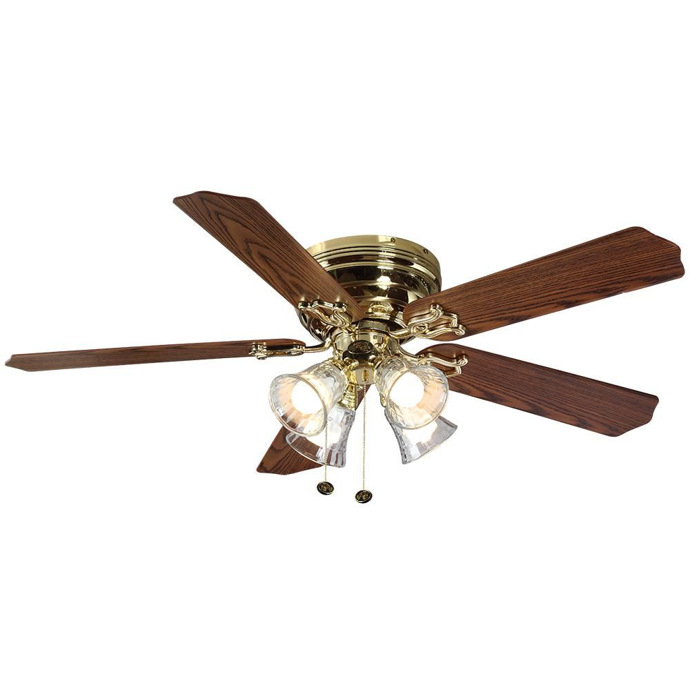 Hampton Bay Carriage House 52 In Led Indoor Polished Brass Ceiling Fan With Light Kit 46008 The Home Depot Brass Ceiling Fan Ceiling Fan With Light Ceiling Fan