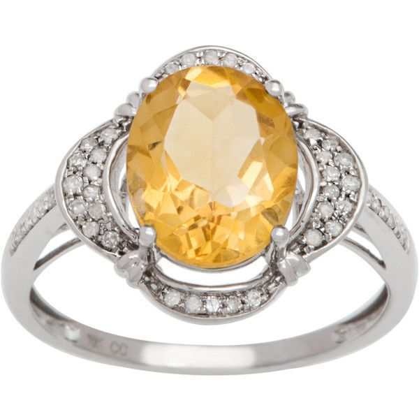 Viducci 10k Gold Citrine And 1 3ct Tdw Diamond Halo Ring Rose Gold Jewelry Set Yellow Citrine Ring Black Diamond Bands