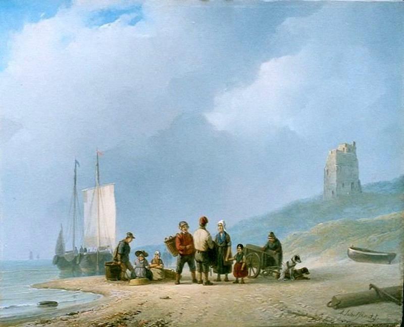 Andreas 'Andries' Schelfhout (1787-1870) Na de visvangst 1825-183. Een vissersfamilie staat te wachten op de vis en de hondenkar is gereed om de vis af te voeren. (Coll. Simonis&Buunk, Ede)