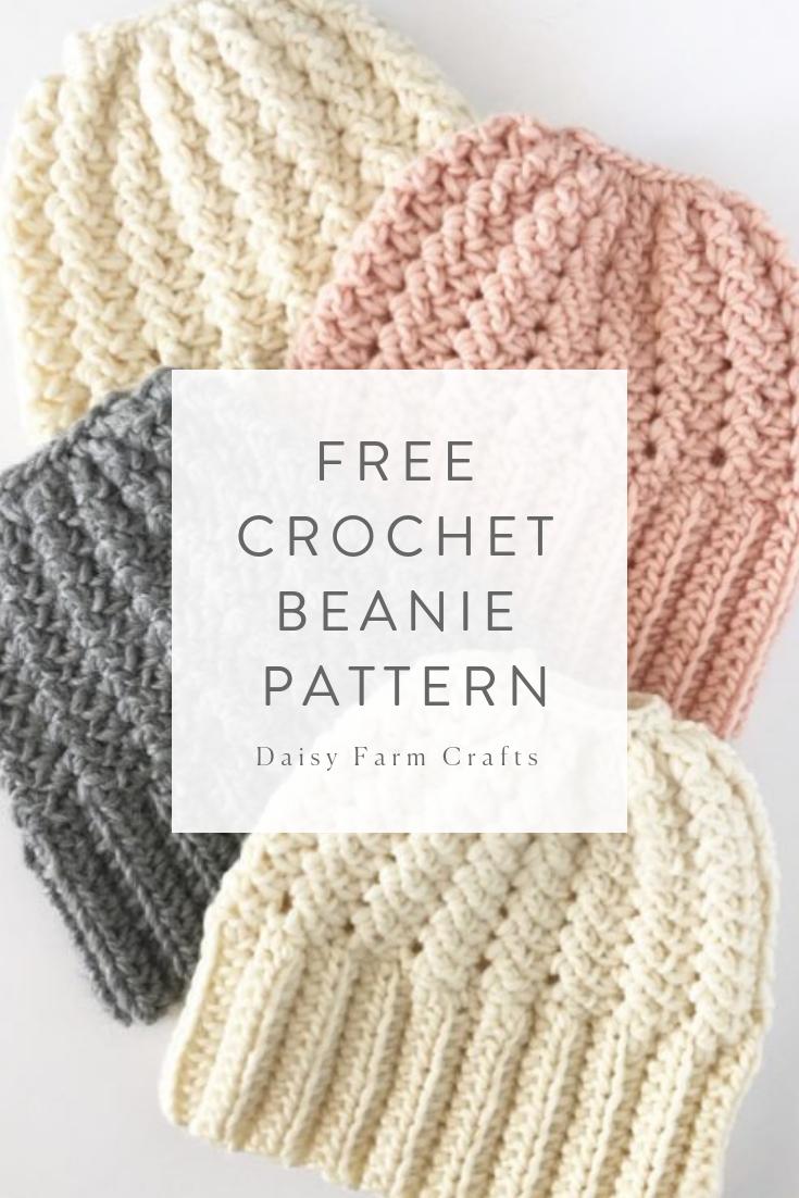 Free Crochet Beanie Pattern – Sprig Stitch Bun Beanie
