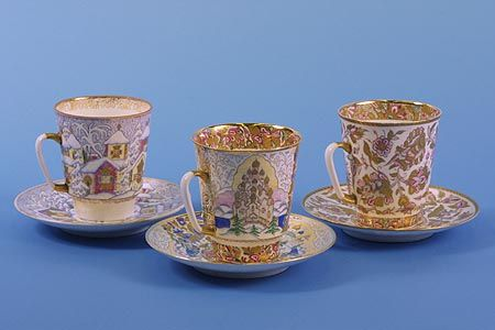 Cups and saucers: Winter's Day, Rus' and Russian Patterns 1965�71 Artists Alexei Vorobyevsky. Sculptor Eduard Krimmer Bone china, overglaze painting, gilding with selective matting Leningrad Porcelain Factory