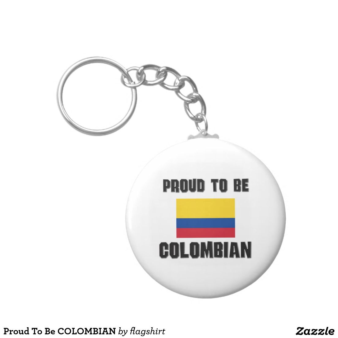 Proud To Be COLOMBIAN Basic Round Button Keychain