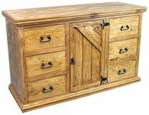 Diagonal Rustic Pine Dresser 6 Drawers