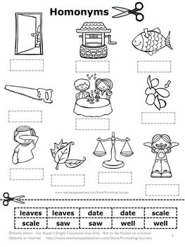 FREE Homonyms Cut and Paste Worksheet | free lessons | Cut ...