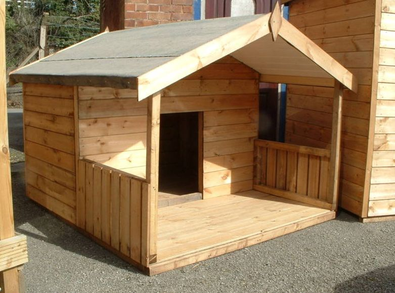 Large dog house plans with porch for Large dog house with porch