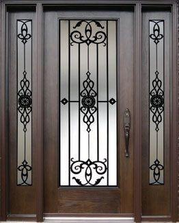 Personalizado puerta de cristal de hierro forjado vidrio for Puertas de metal con vidrio