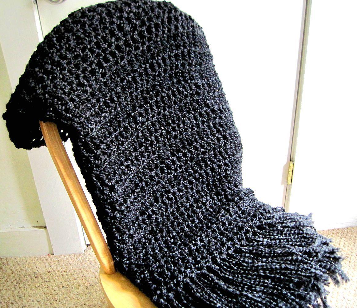 Throw Blanket Crocheted with Fringe- Lap Size Black Blanket, Afghan ...