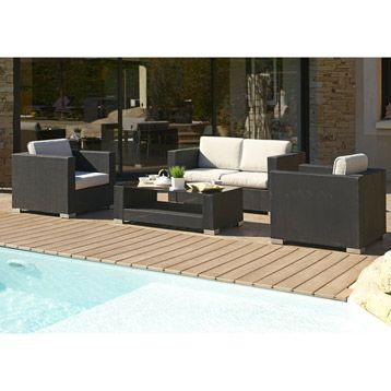 salon de jardin en acier hawa dcb garden noir leroy. Black Bedroom Furniture Sets. Home Design Ideas