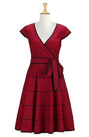 Contrast stripe trim poplin dress
