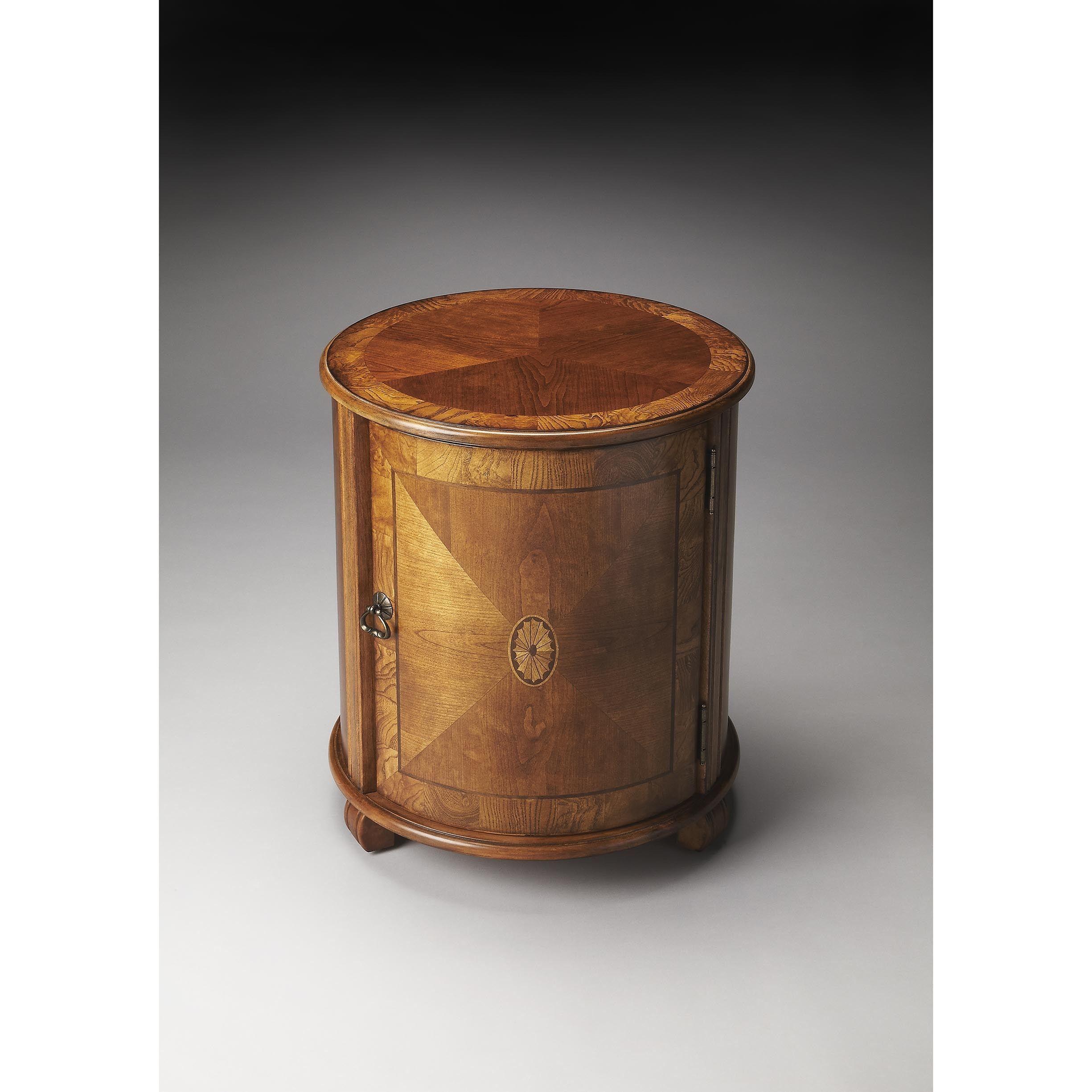 Butler lawrie brown wood veneer mdf olive ash burl drum table medium brown