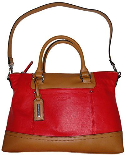 Tignanello Womens Smooth Operator Convertible Leather Satchel Lipstick Cognac Handbag