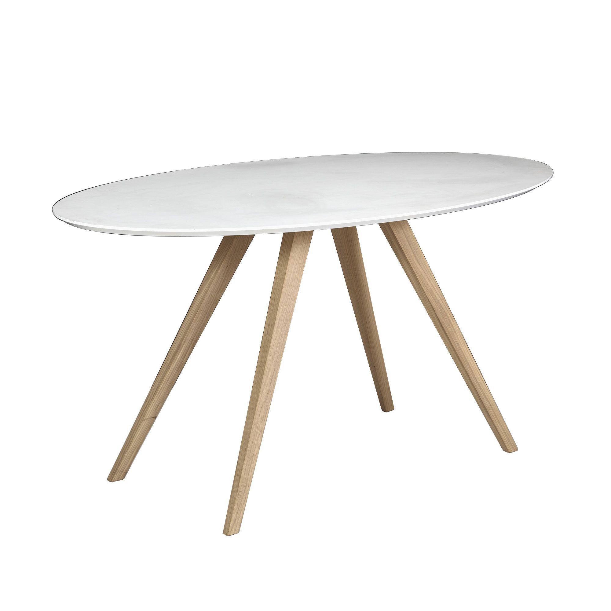 Table de repas ovale blanc et chªne L160cm Malte PROMOS