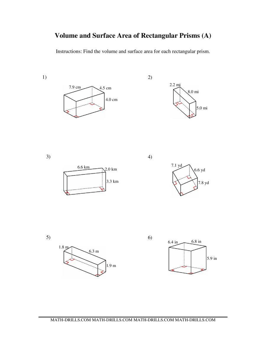 hight resolution of Surface area Worksheet 7th Grade Volume and Surface area Of Rectangular  Prisms A   Area worksheets