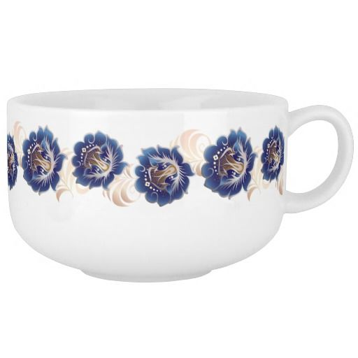 Large Abstract Blue Flower Wreath Soup Mug
