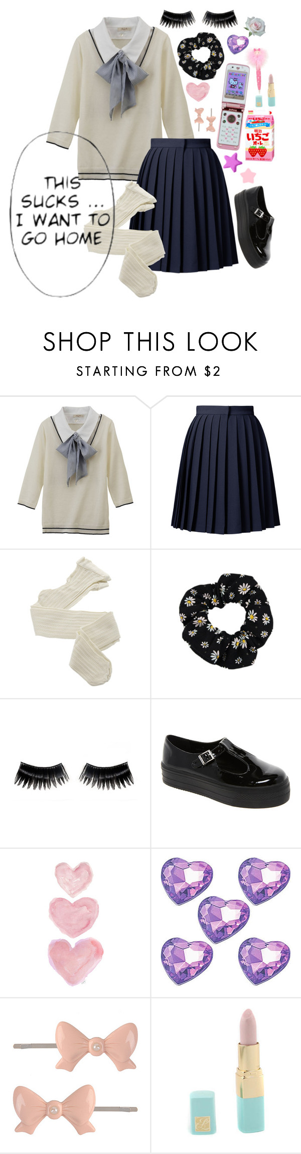 """School girl~"" by mochineko ❤ liked on Polyvore featuring Orla Kiely, Fogal, NYX, ASOS, Shabby Chic, Hello Kitty, Forever 21, Estée Lauder and sOUP"