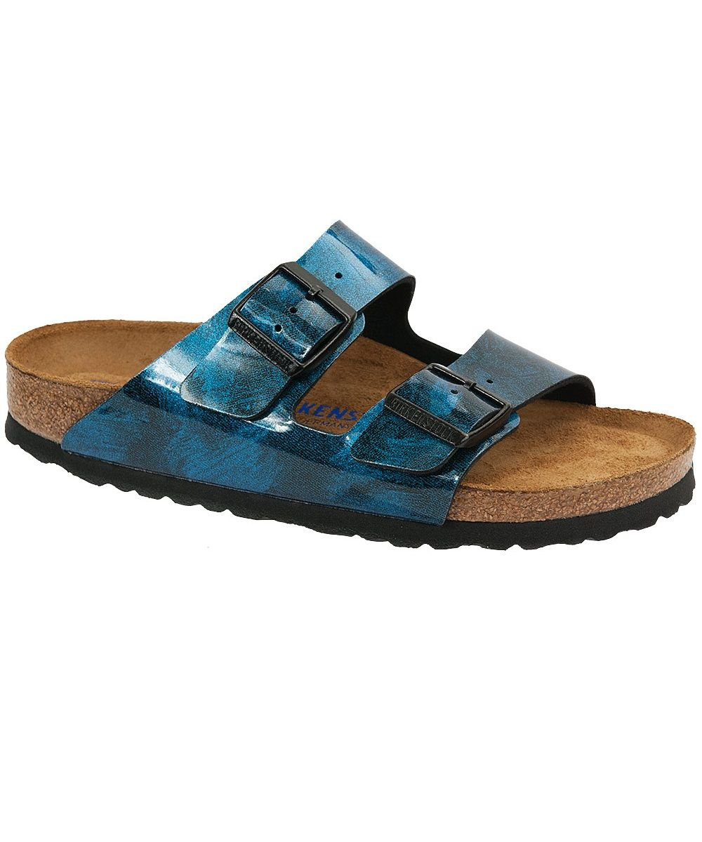 323daa264bf3 Birkenstock Arizona Milky Way Soft Footbed Two Strap Sandal in Blue  Birko-flor. Contoured cork design with a soft footbed for a little cushion.
