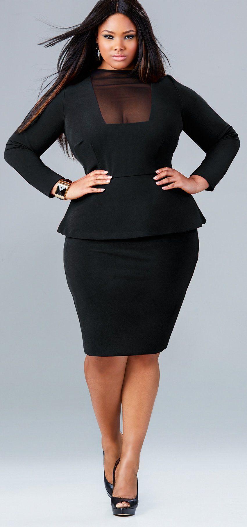 "0e138fe810b58 plussizeebony  Anita Marshall in Monif C s ""FAITH"" MESH FRONT PEPLUM DRESS  - BLACK"