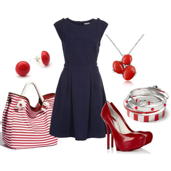 """""""navy dress with red and white"""" by aimee-bryant on Polyvore"""
