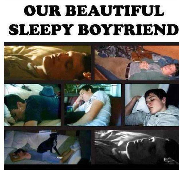Correction. Try MY beautiful sleeping boyfriend. Proerty of Sofia Molinar . MINE. Do you hear me? DO NOT TOUCH