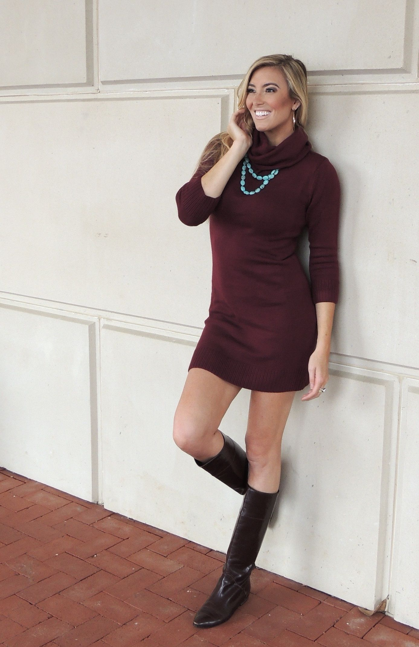 Elise turtleneck midi sweater dress burgundy3900