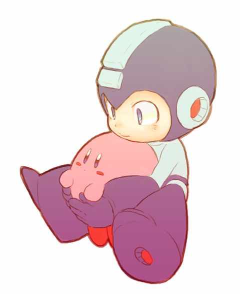 Megman and Kirby being super adorable! SQUISHY KIRBY!!!