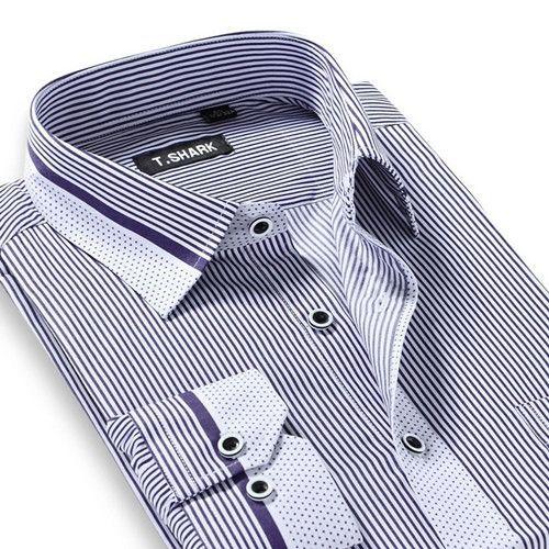 bbf1bfbd32cac Men's Long Sleeve Light Blue/white Vertical Stripe Dress Shirt Regular-Fit  Classic Turn-down Collar Business Formal Shirt