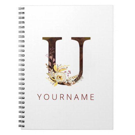 Floral Monogram U Rich Autumn Foliage Notebook | Zazzle.com #autumnfoliage
