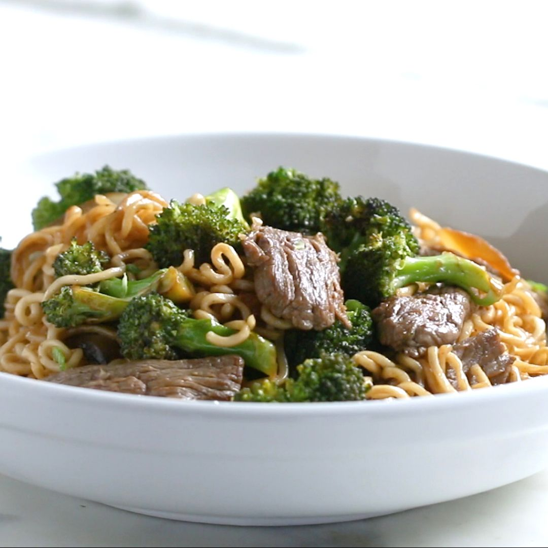 Photo of Asian noodle pan with beef and broccoli
