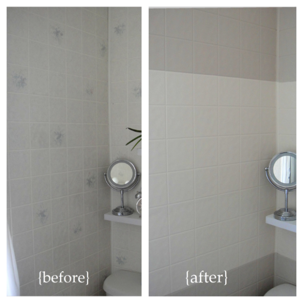 Before and after horizontal stripes paint plastic wall for How to paint bathroom wall tile