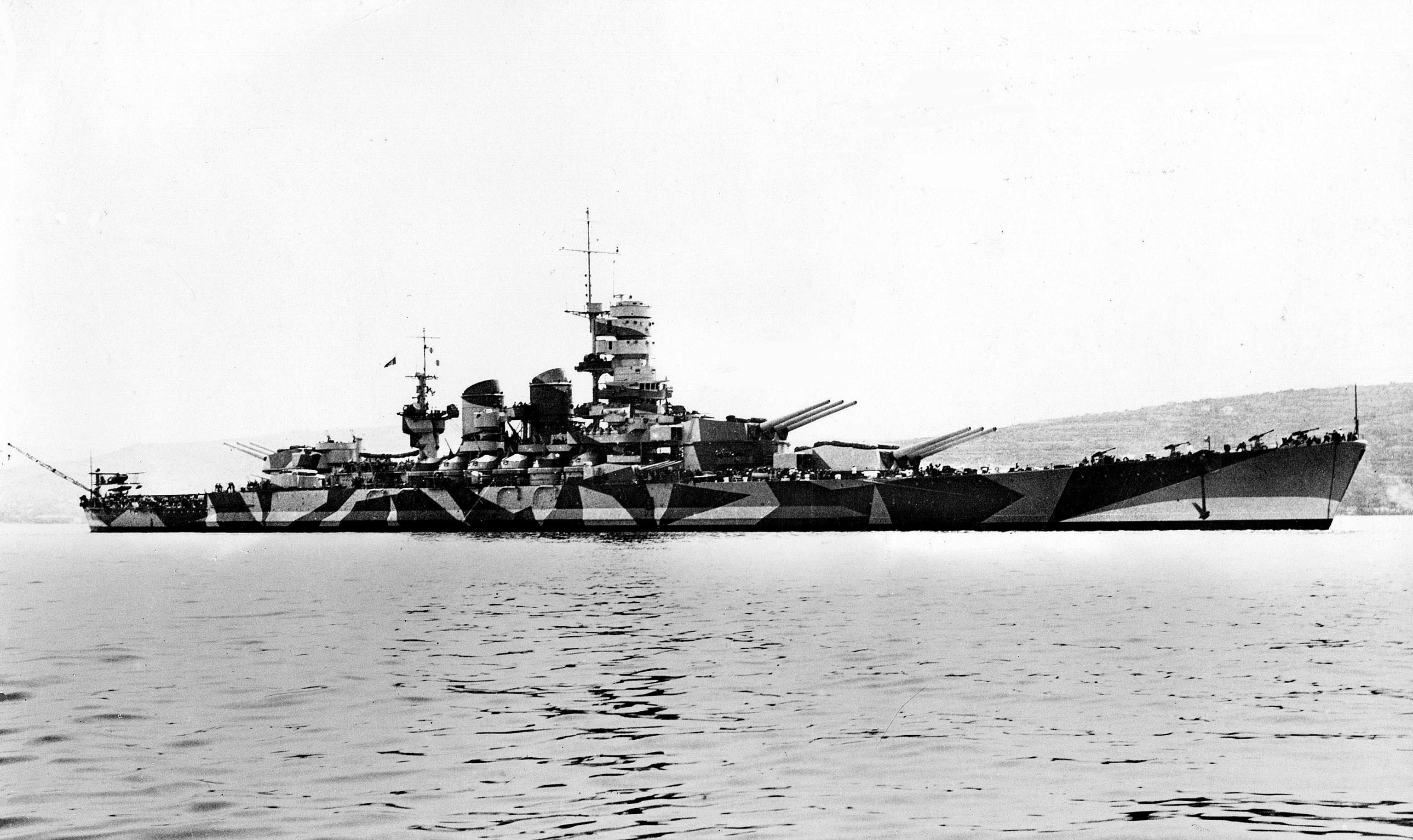 Wwii italy navy battleship roma 1943 plastic model images list - Italian Battleship Roma Of The Littorio Class In Splinter Camouflage Circa 1942 43 3072x1827