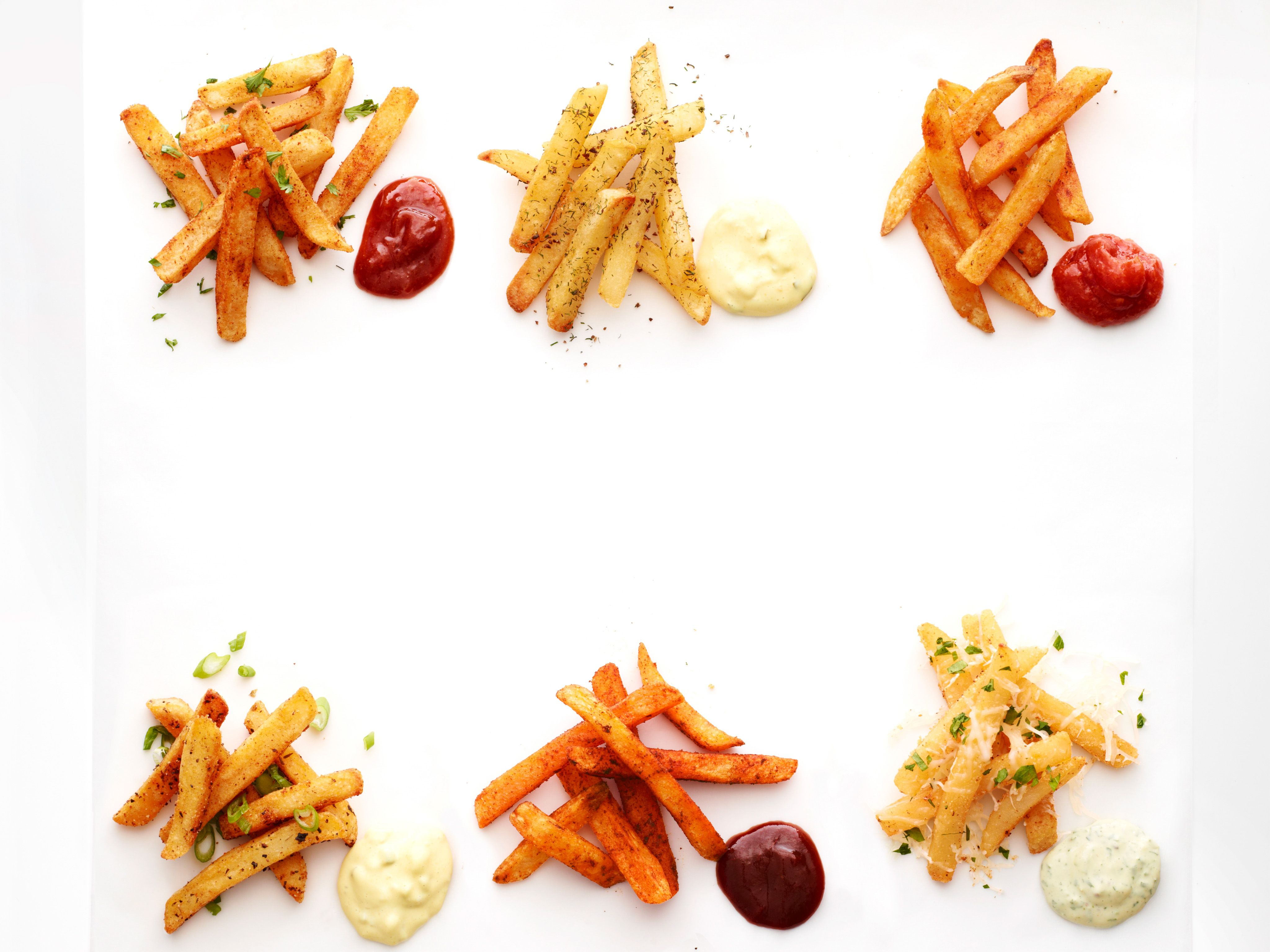 Spiced Fries Six Ways with Dipping Sauces Recipe : Food Network ...