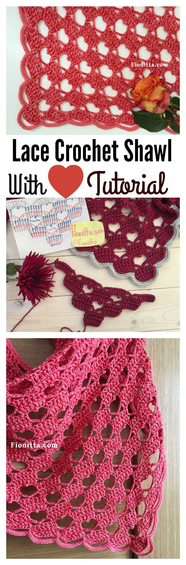 Lacy Crochet Shawl Pattern with Hearts Video Tutorial | Chal ...