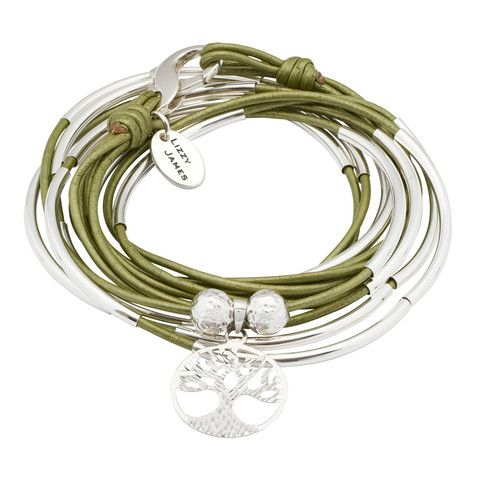 Sterling Silver Lizzy Classic 4 strand leather wrap bracelet with Sterling Tree of Life charm in Metallic Juniper leather. Comes as shown.