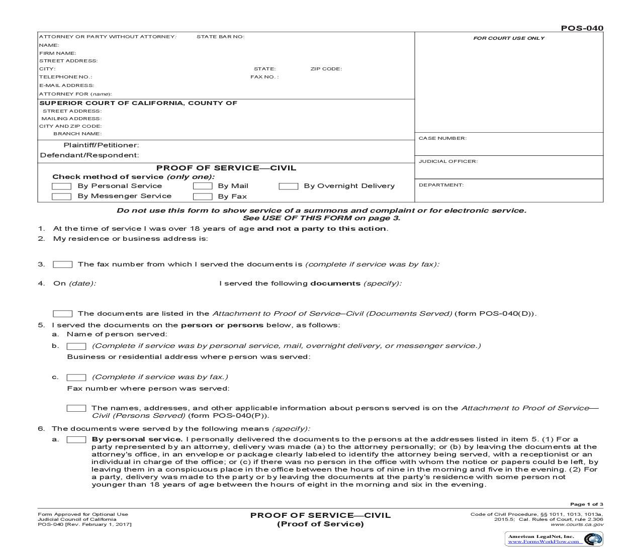 This is a California form that can be used for Proof Of