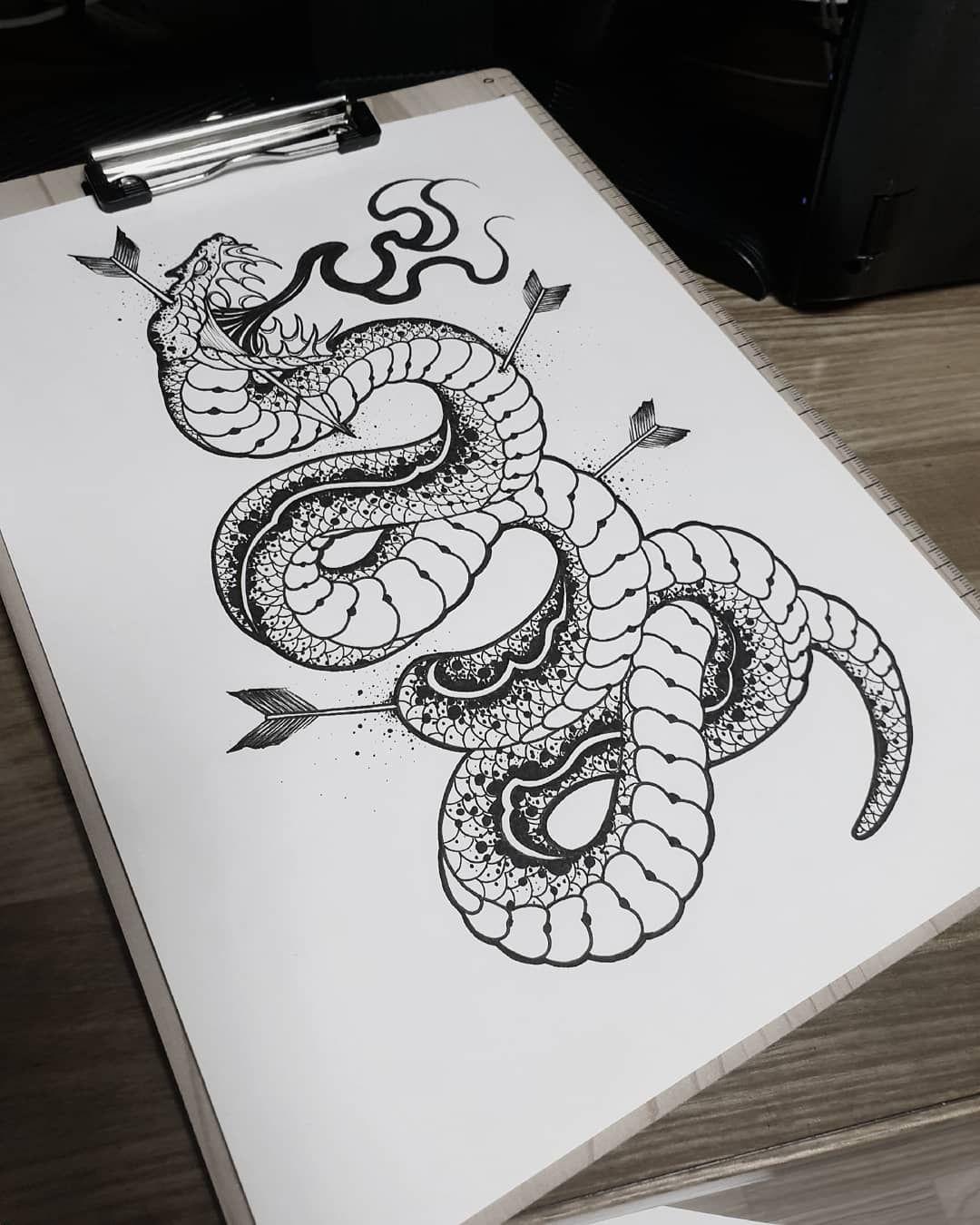 """오종원 on Instagram """"snake tattoo 🖤"""" Shoulder tattoo"""