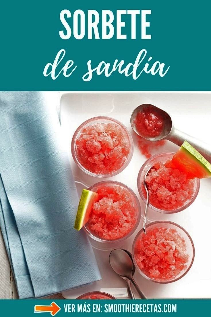 Sandía  Receta NATURAL y 100 CASERA Receta de Sorbete de Sandía 100 NATURAL prende a preparar esta fantástica recetas baja en caloría gracias...