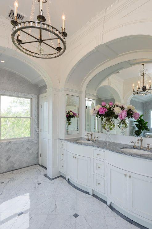 Master Bathroom Arched Vanity Alcove Mirrorside Medicine Cabinets