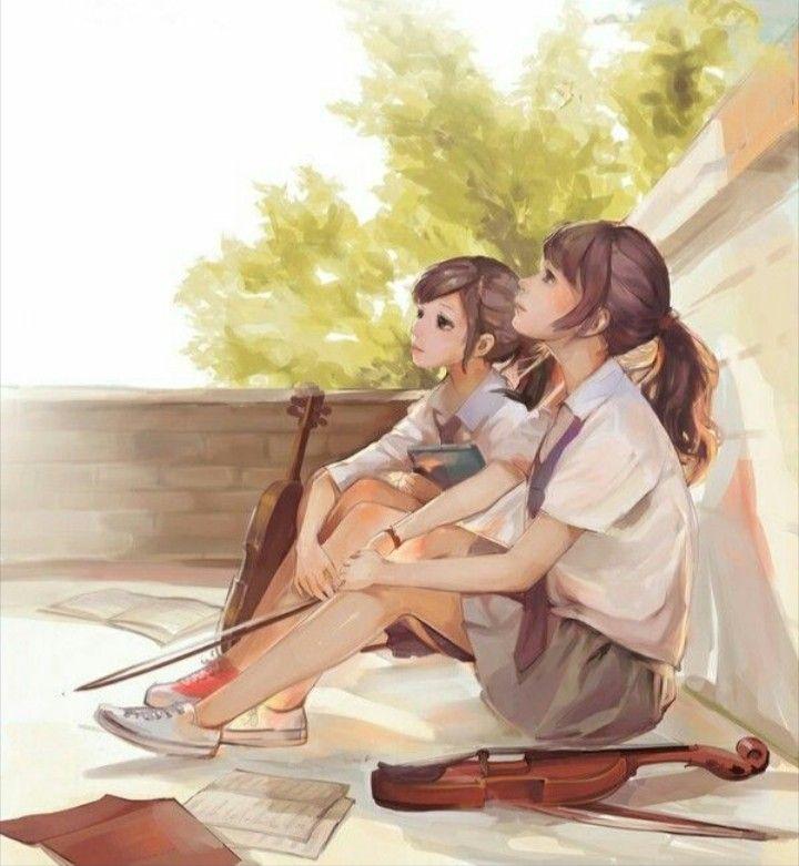 Lets Play Together On Our Violins Gadis Sekolah Anime Animasi Ilustrasi