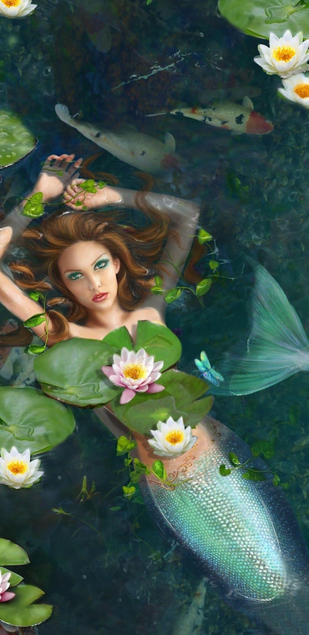 Monique Floated Alongshore Beautiful Koi Swam Freely . Mermaids