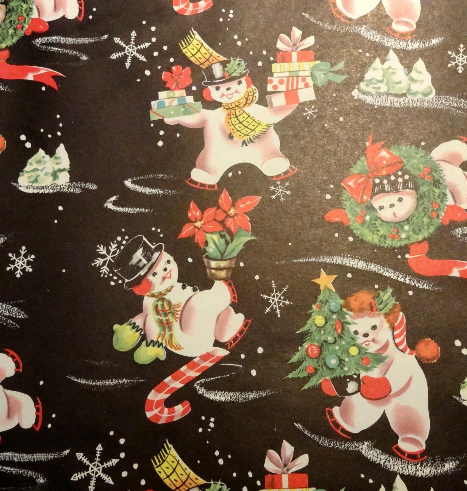 Vintage 1950 s Christmas Wrapping Paper Chubby Snowmen NOS