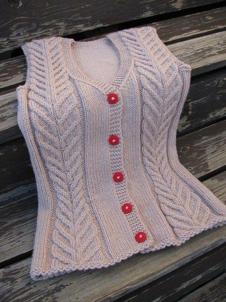 knitted sleeveless waistcaot @ Af 3/1/13 kamizelka warkoczem płaskim ...