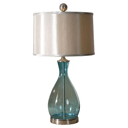 Found it at Wayfair - Meena Table Lamp in Clear Blue Glass