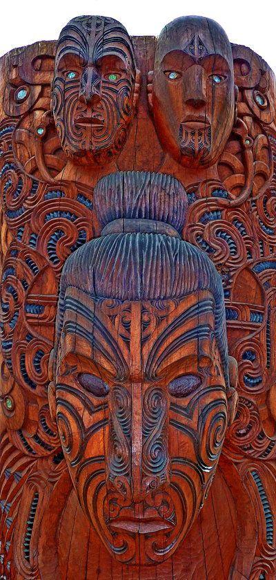 Traditional Maori Art: Traditional Maori Wood Carving Te Puia, Near Rotorua, New