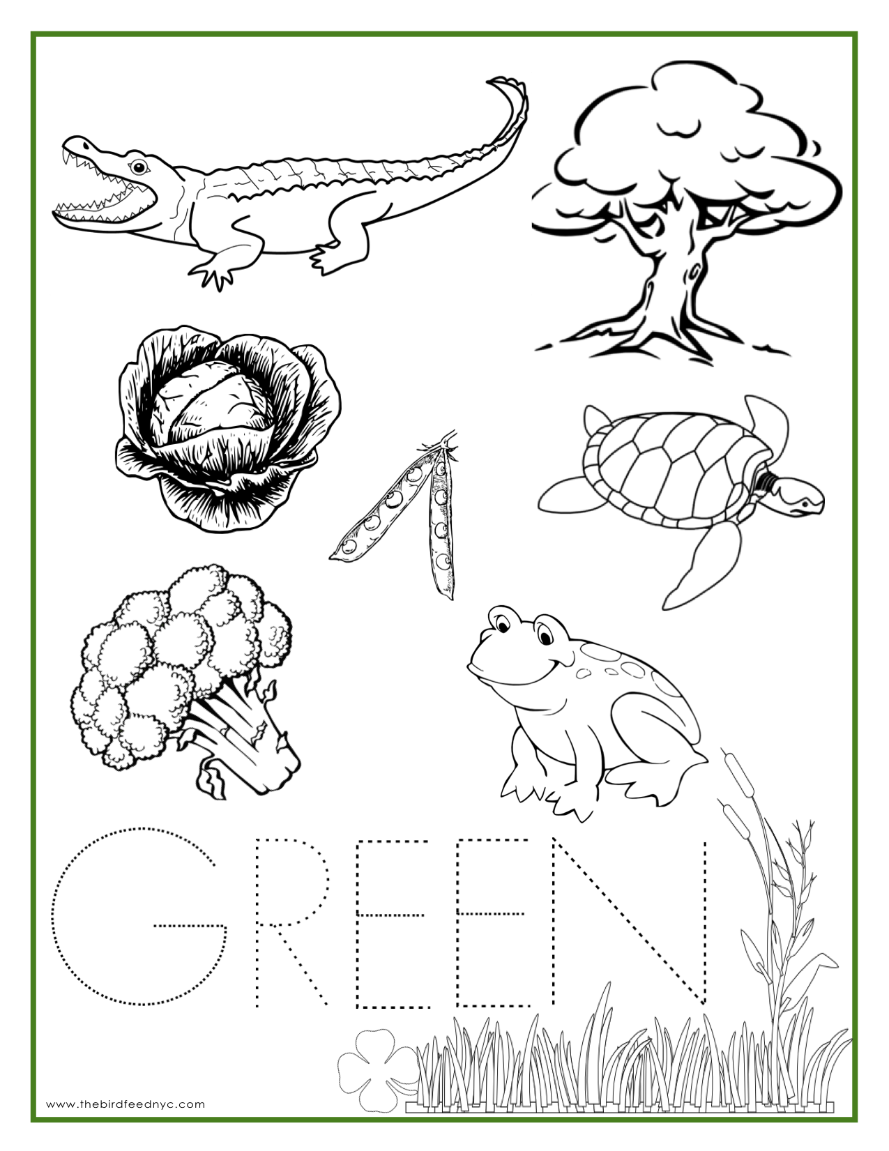 Colouring sheets for lkg - Green Color Activity Sheet Repinned By Totetude Com
