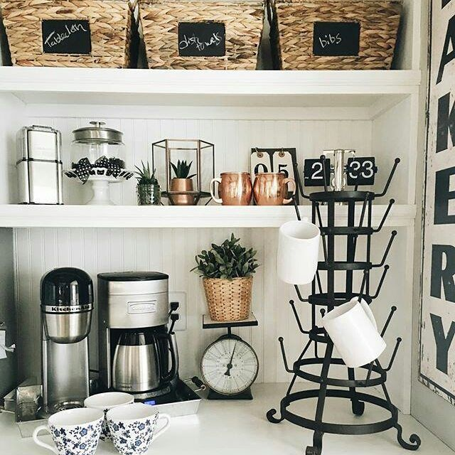 "Photo of ANTIQUE FARMHOUSE on Instagram: ""Love your #coffee #nook and our #antiquefarmhouse #glassrack and #bakery #sign! Thank you so much for sharing @thewhitefarmhouse   #myAFH…"""