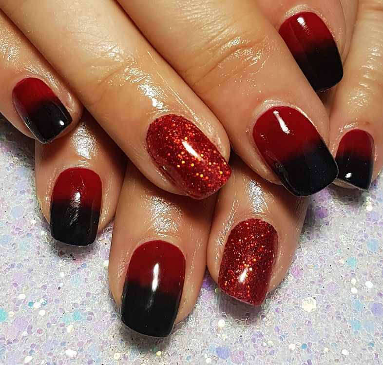 Acrylic Nails With Red And Black Ombre And Glitter Acrylic Nails Nails Ombre Nails