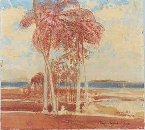 Renque de palmeiras, 1927 Bruno Lechowski (Polônia 1887 – Brasil 1942) Aquarela, 49 x 44 cm Coleção Wanda Lechowski.