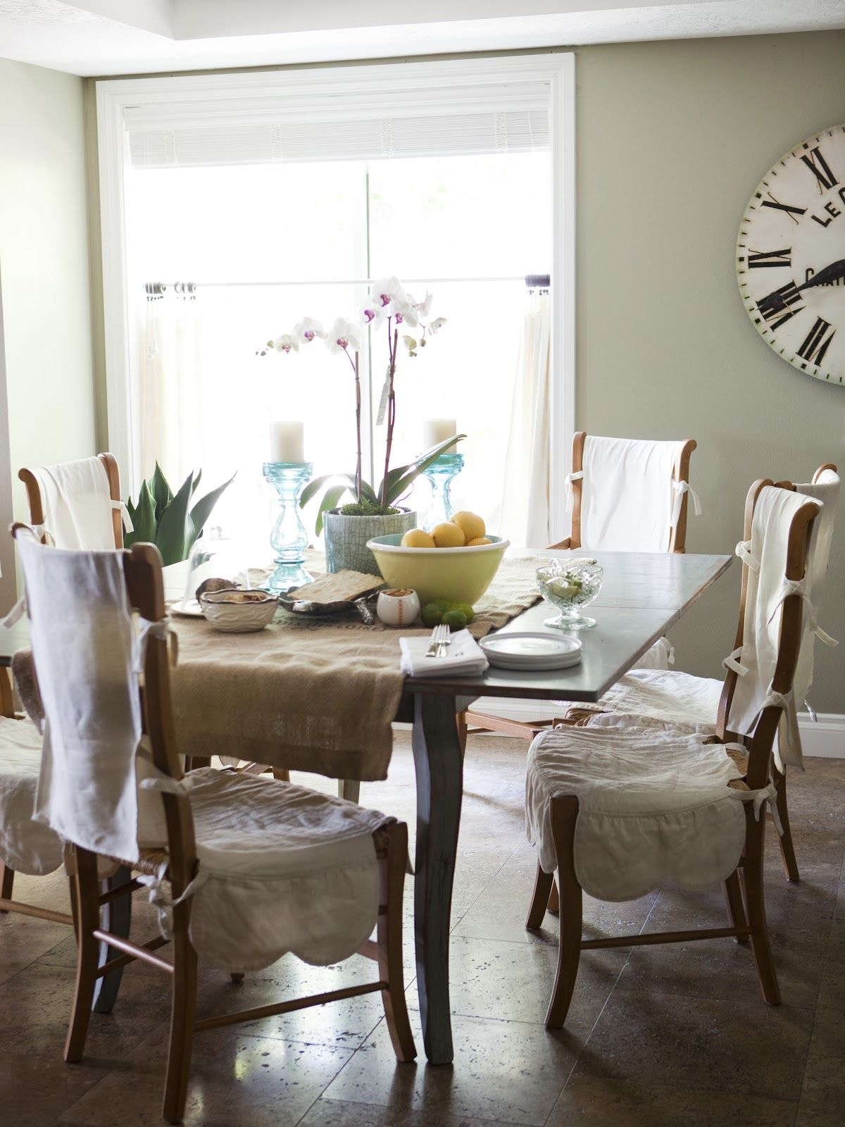 Love The Wide Burlap Table Runner And Slip Covered Chairs