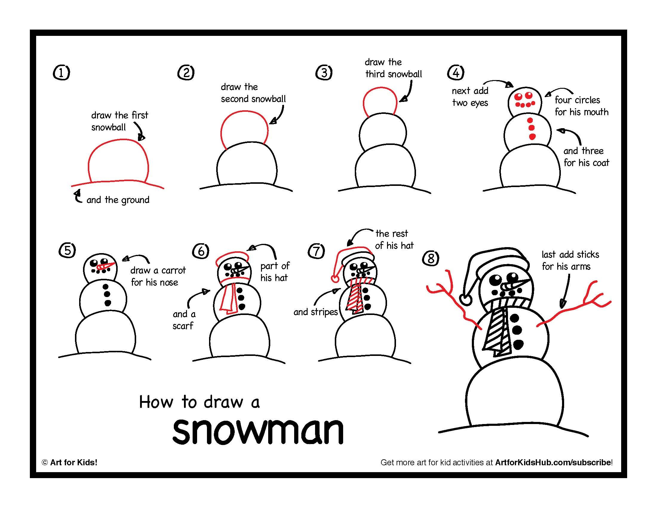 How To Draw A Snowman Art For Kids Hub Easy